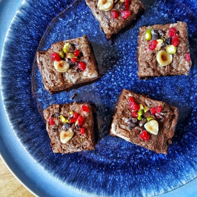 Brownie chocolate y pistachos