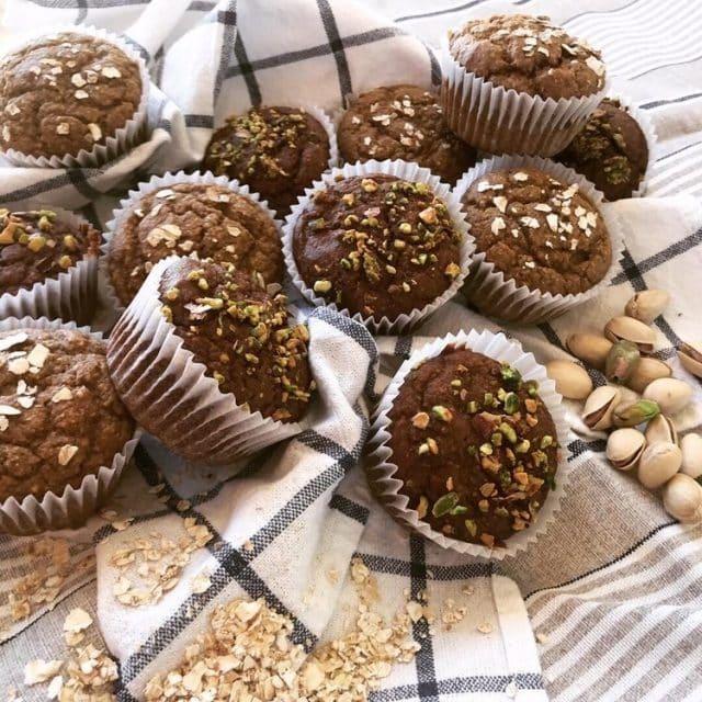 Muffins de pistachos y chocolate sin azucar