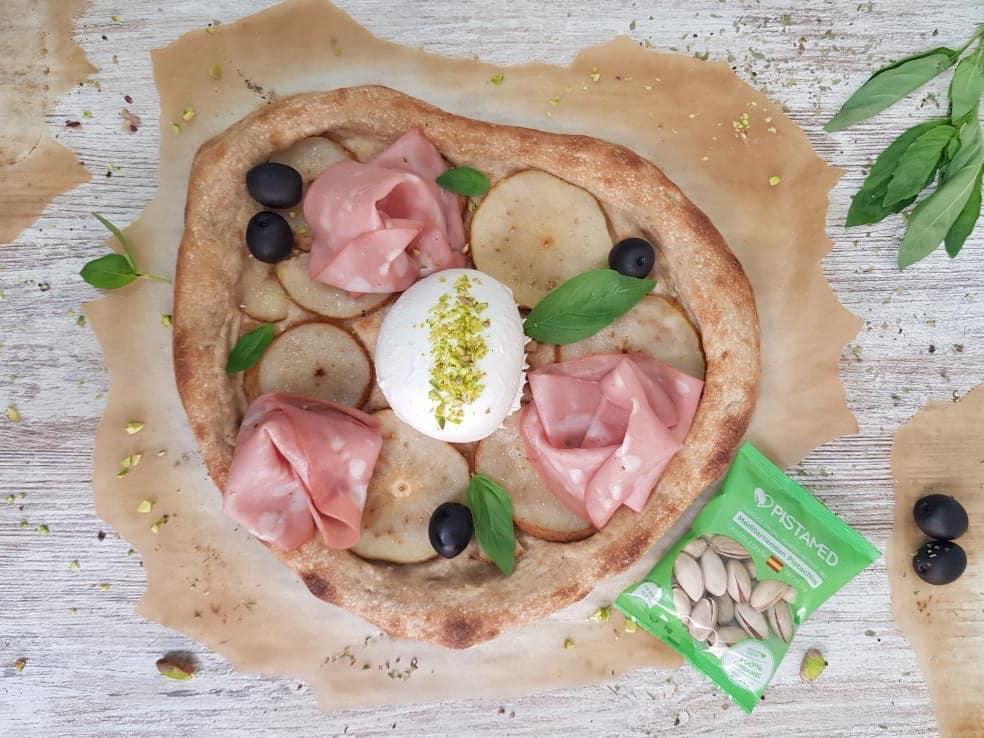Pizza de pistachos